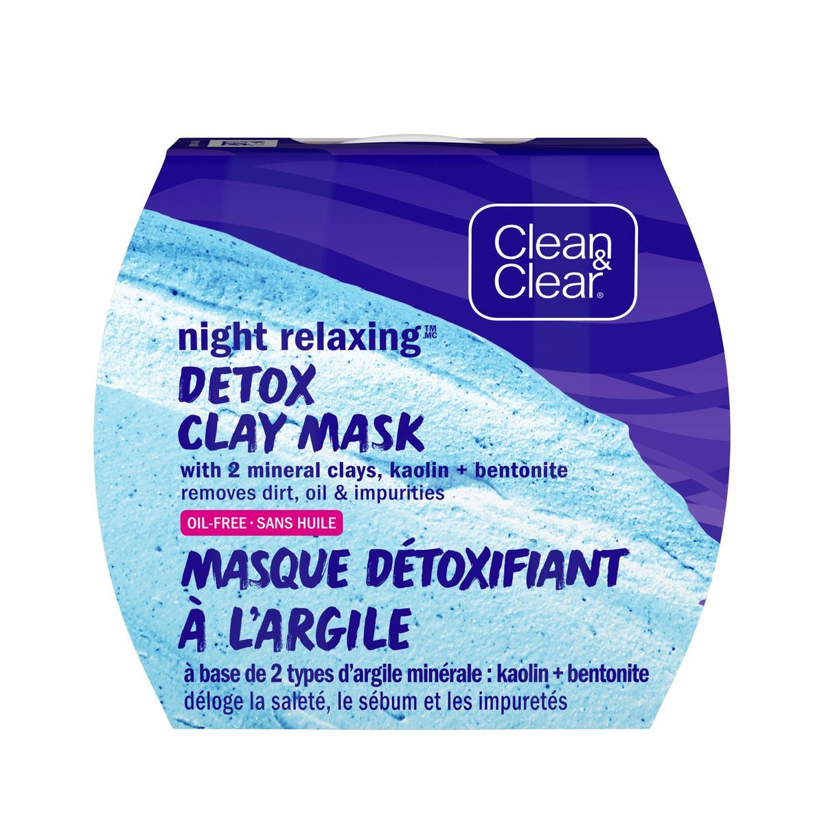 emballage du masque détoxifiant à l'argile Clean and Clear pour la nuit