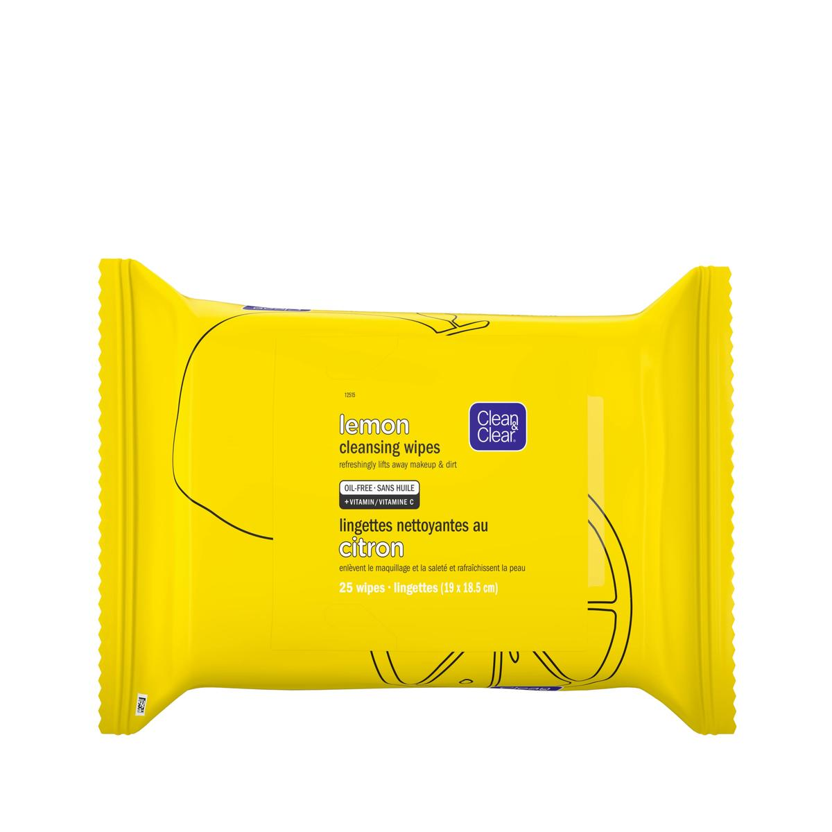 emballage jaune des lingettes nettoyantes Clean and Clear au citron