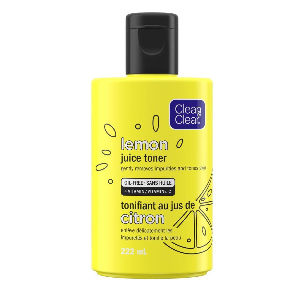 flacon jaune du tonifiant au jus de citron Clean and Clear sans alcool
